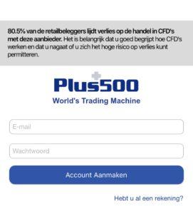 voorbeeld foto van de mobiel login pagina van online broker plus500