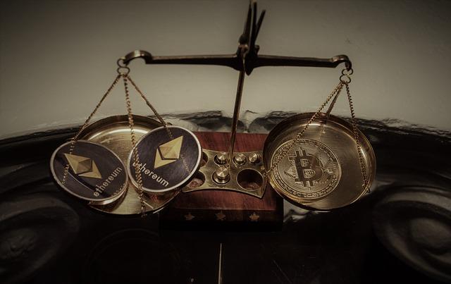 weegschaal met aan één kant bitcoin en aan de andere kant ethereum