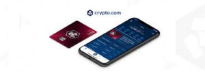 foto van een telefoon met daarop de crypto.com app en de rubysteel visa kaart