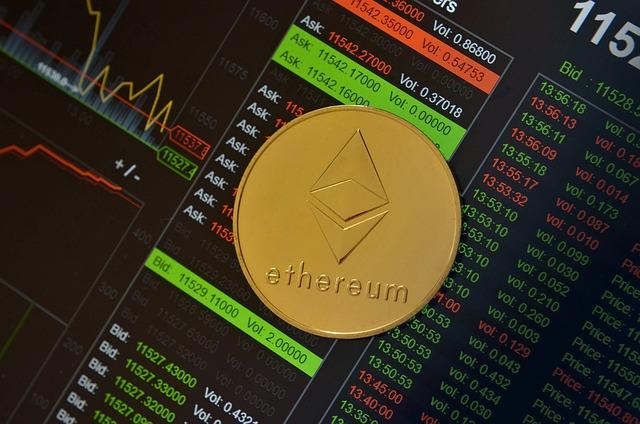 daytraden met crypto achtergrond met een Ethereum token aan de voorkant
